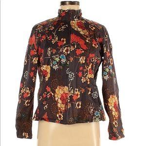 Chico's Floral Print Zip Front Jacket, sz M NEW